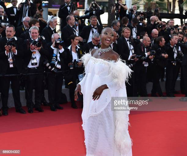 Tanzanian model Miriam Odemba arrives for the screening of the film D'apres Une Histoire Vraie out of competition at the 70th annual Cannes Film...
