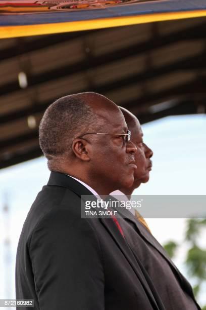Tanzanian President John Magufuli and Ugandan President Yoweri Kaguta Museveni attend the launching ceremony of a onestop border post to speed up...