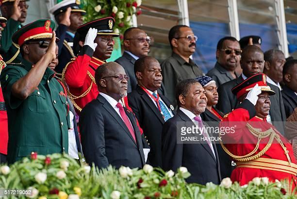 Tanzanian president John Magufuli and Zanzibar's newlyelected President Ali Mohamed Shein attend Shein's swearingin ceremony in Stone Town Zanzibar...