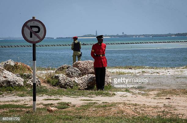 Tanzanian security forces take security measures before the welcome ceremony for Turkish President Recep Tayyip Erdogan ahead of a meeting with...