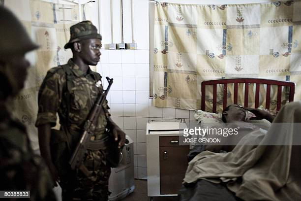 Tanzanian soldiers from the African Union guard at a hospital in Mutsamudu on March 26 2008 Mohammed Nedhoim a suspect of supporting renegade Anjouan...