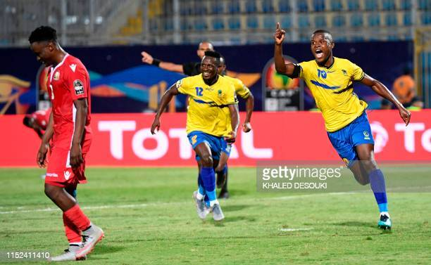 Tanzania's forward Mbwana Samatta celebrates scoring his team's second goal during the 2019 Africa Cup of Nations football match between Kenya and...
