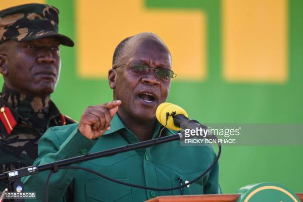 Tanzania's incumbent President and presidential candidate of ruling party Chama Cha Mapinduzi John Magufuli speaks during the official launch of the...