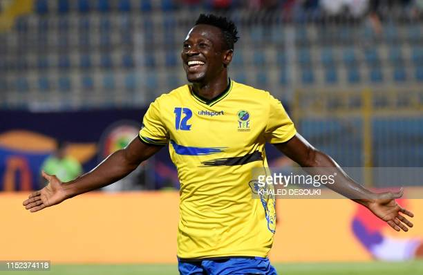 Tanzania's midfielder Simon Msuva celebrates scoring his team's first goal during the 2019 Africa Cup of Nations football match between Kenya and...