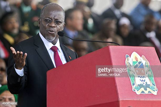 Tanzania's newly elected president John Magufuli delivers a speech during the swearing in ceremony in Dar es Salaam on November 5 2015 John Magufuli...