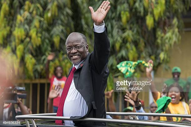 Tanzania's Presidentelect John Magufuli waves as he leaves after the official election announcement ceremony in Dar es Salaam October 30 2015 Ruling...