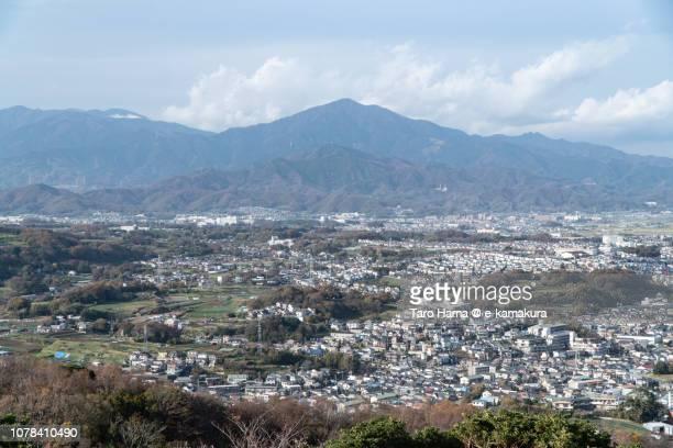 Tanzawa Mountains, and Hiratsuka, Hatano and Isehara cities in Kanagawa prefecture in Japan