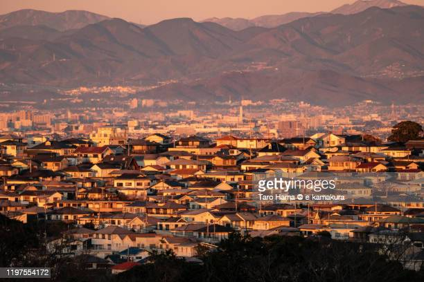 tanzawa mountains and residential district in kanagawa prefecture of japan - 神奈川県 ストックフォトと画像