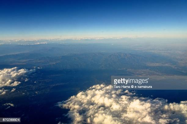 tanzawa mountains in kanagawa prefecture in japan daytime aerial view from airplane - utc−10:00 stock pictures, royalty-free photos & images
