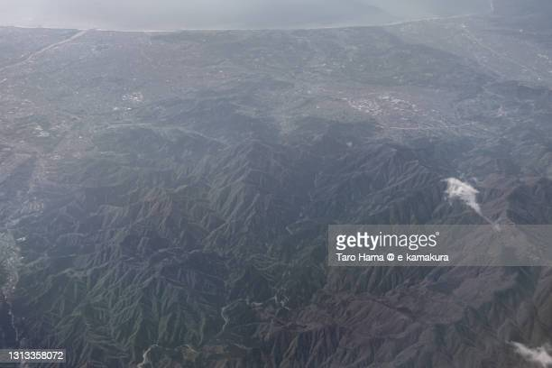 tanzawa mountains in kanagawa prefecture of japan aerial view from airplane - 平塚市 ストックフォトと画像