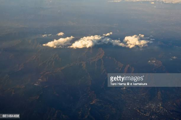 Tanzawa mountains, sunset aerial view from airplane