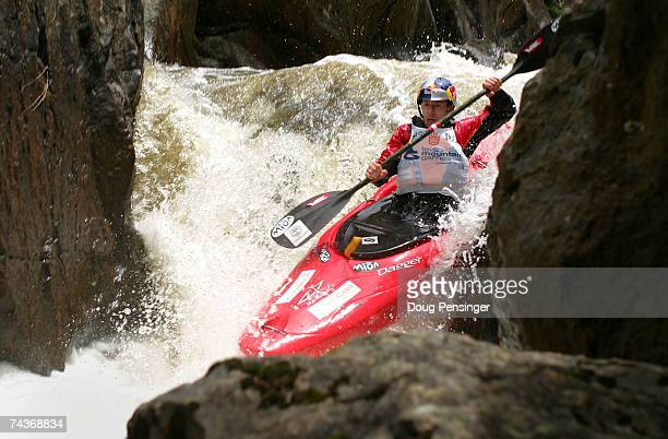 Tao Berman of White Salmon, Washington takes his second run as he finished first in the Steep Creek Kayaking Championship on Homestake Creek at the...