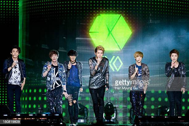 Tao Chen Luhan Kris Xiumin and Lay of boy band EXOM perform onstage during the KBS KoreaChina Music Festival on August 25 2012 in Yeosu South Korea