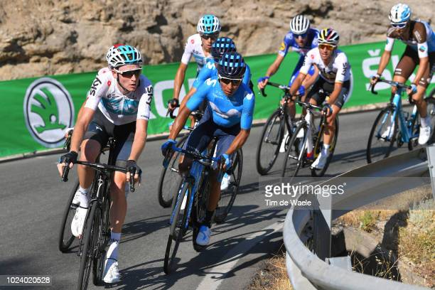 Tao Geoghegan Hart of Great Britain and Team Sky / David De La Cruz of Spain and Team Sky / Alejandro Valverde of Spain and Movistar Team / Nairo...