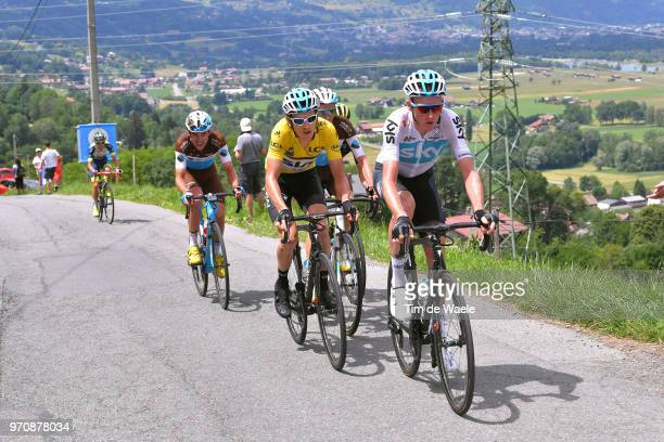 Tao Geoghegan Hart of Great Britain and Team Sky / Geraint Thomas of Great Britain and Team Sky Yellow Leader Jersey / Romain Bardet of France and...