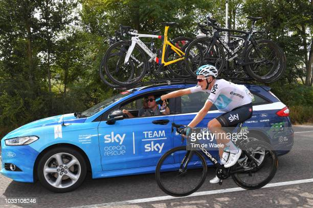 Tao Geoghegan Hart of Great Britain and Team Sky / Nicolas Portal of France Sports Director / Feed Zone / Car / during the 73rd Tour of Spain 2018...