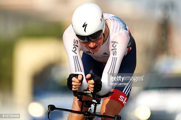 Tao Geoghegan Hart of Great Britain competes in the Men's U23 Individual Time Trial during day two of the UCI Road World Championships on October 10...
