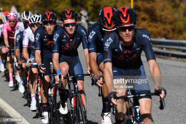 Tao Geoghegan Hart of The United Kingdom and Team INEOS Grenadiers / during the 103rd Giro d'Italia 2020, Stage 20 a 190km stage from Alba to...