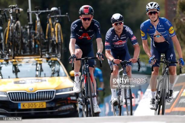 Tao Geoghegan Hart of United Kingdom and Team INEOS Grenadiers, Louis Vervaeke of Belgium and Team Alpecin-Fenix & James Knox of United Kingdom and...