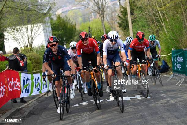 Tao Geoghegan Hart of United Kingdom and Team INEOS Grenadiers, Matej Mohoric of Slovenia and Team Bahrain Victorious & Krists Neilands of Latvia and...