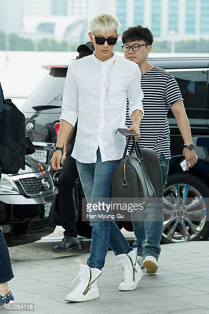Tao of boy band EXOM is seen on departure at the Incheon International Airport on July 17 2014 in Incheon South Korea