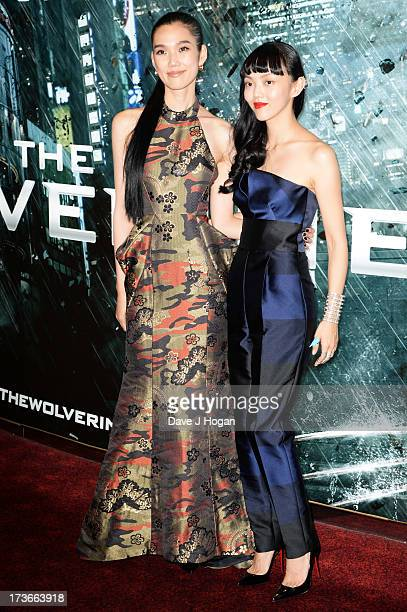 Tao Okamoto and Rila Fukushima attend the UK premiere of 'The Wolverine' at The Empire Leicester Square on July 16 2013 in London England
