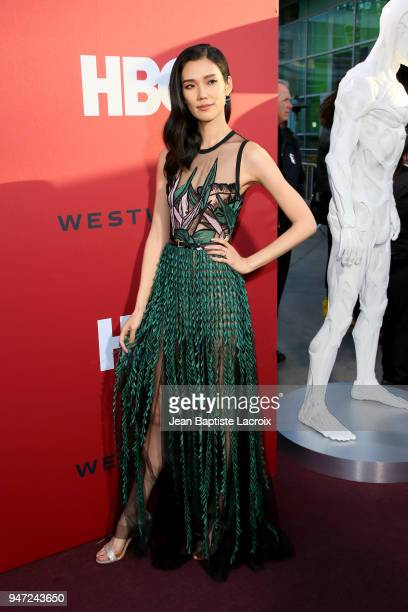 Tao Okamoto attends the premiere of HBO's Westworld Season 2 at The Cinerama Dome on April 16 2018 in Los Angeles California