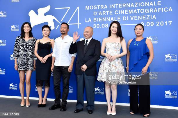 Tao Okamoto Ha Jiwon Zhang Hanyu John Woo Qi Wei and Angeles Woo attend the 'Zhuibu ' photocall during the 74th Venice Film Festival on September 8...