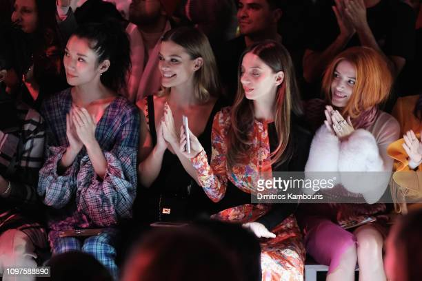 Tao Okamoto Nina Agdal Angela Sarafyan and Bella Thorne attend the Prabal Gurung front row during New York Fashion Week The Shows at Gallery I at...