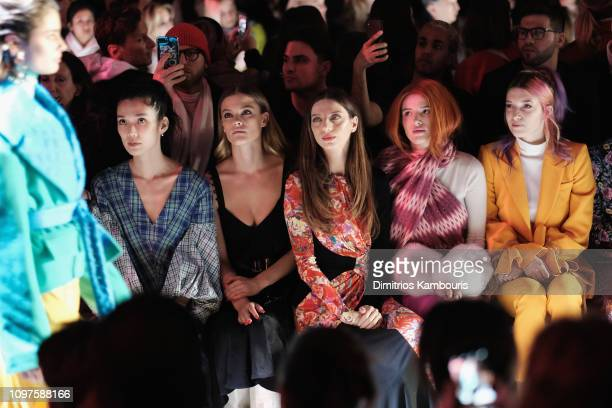 Tao Okamoto Nina Agdal Angela Sarafyan Bella Thorne and Dani Thorne attend the Prabal Gurung front row during New York Fashion Week The Shows at...