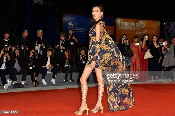 Tao Okamoto walks the red carpet ahead of the 'Manhunt ' screening during the 74th Venice Film Festival at Sala Darsena on September 8 2017 in Venice...