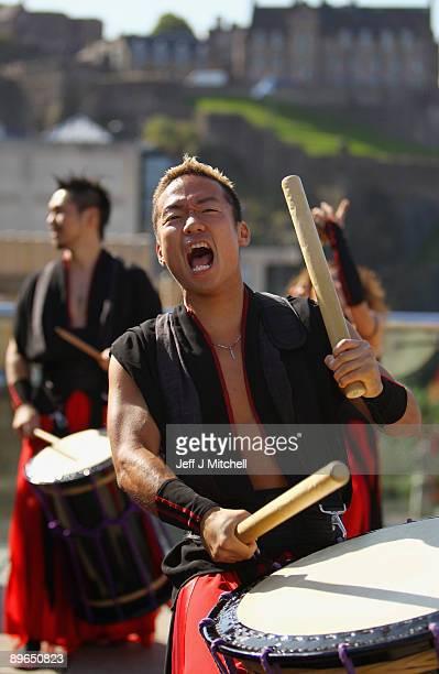 Tao samurai drummers rehearse part of their Edinburgh Festival Fringe performance on August 7 2009 in Edinburgh Scotland Tao last performed at the...