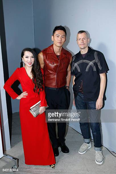 Tao Tao, model Gu You Ming and Stylist Lucas Ossendrijver attend the Lanvin Menswear Spring/Summer 2017 show as part of Paris Fashion Week on June...