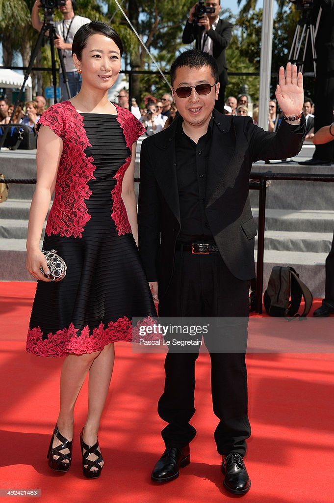 Tao Zhao and jury member Jia Zhangke attend the 'Futatsume No Mado' premiere during the 67th Annual Cannes Film Festival on May 20, 2014 in Cannes, France.