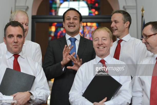Taoiseach Irish Prime Minister Leo Varadkar meets members of the department's staff choir at the end of their performance during an annual lunchtime...