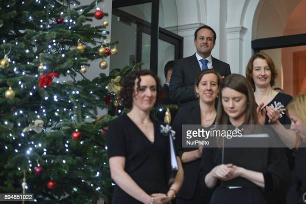 Taoiseach Irish Prime Minister Leo Varadkar observes members of the department's staff choir after their performance during an annual lunchtime...