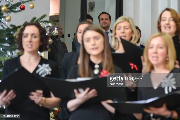 Taoiseach Irish Prime Minister Leo Varadkar observes members of the department's staff choir perfoming during an annual lunchtime recital of...