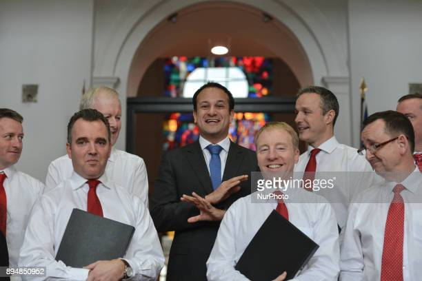Taoiseach Irish Prime Minister Leo Varadkar refuses to sing as he meets members of the department's staff choir at the end of their performance...