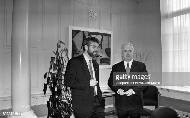 Taoiseach John Burton with Sinn Fein Leader Gerry Adams at a Photocall at Government Buildings Dublin