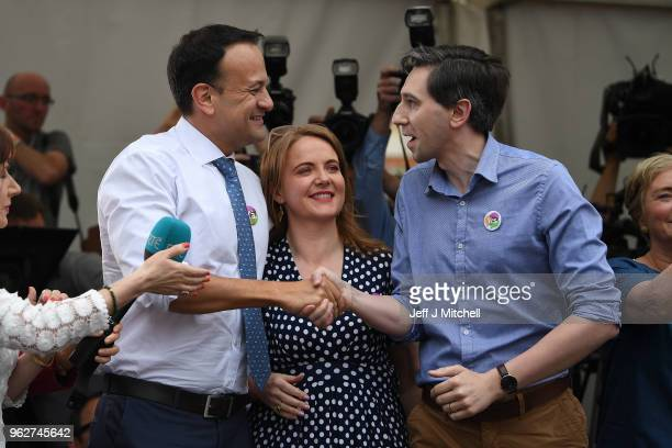 Taoiseach Leo Varadkar addresses the gathered crowd as the result of the Irish referendum on the 8th amendment concerning the country's abortion laws...