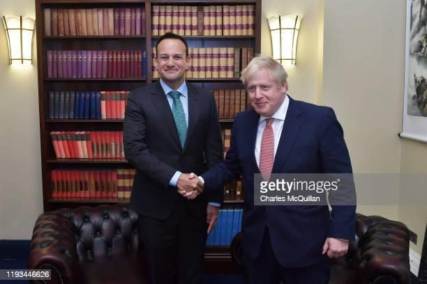 Taoiseach Leo Varadkar and British Prime Minister Boris Johnson meet at Stormont on January 13 2020 in Belfast Northern Ireland