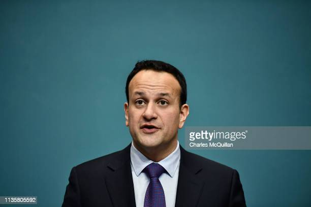 Taoiseach Leo Varadkar and EU Chief Brexit Negotiator Michel Barnier hold a joint press conference at Government Buildings on April 8 2019 in Dublin...
