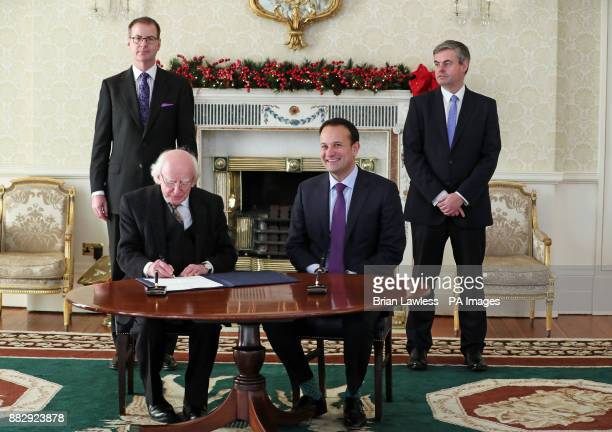 Taoiseach Leo Varadkar and Irish President Michael D Higgins at the Aras in Dublin following the resignation of Frances Fitzgerald over her handling...