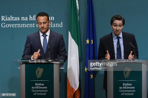 Taoiseach Leo Varadkar and Minister for Health Simon Harris during a press conference at Government Buildings in Dublin following today's Government...