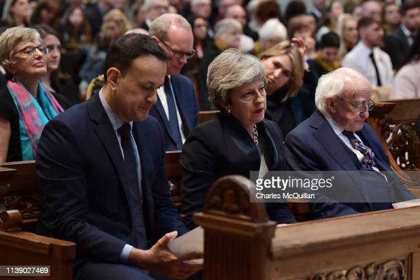 Taoiseach Leo Varadkar British Prime Minister Theresa May and President of Ireland Michael D Higgins attend the funeral service of journalist Lyra...