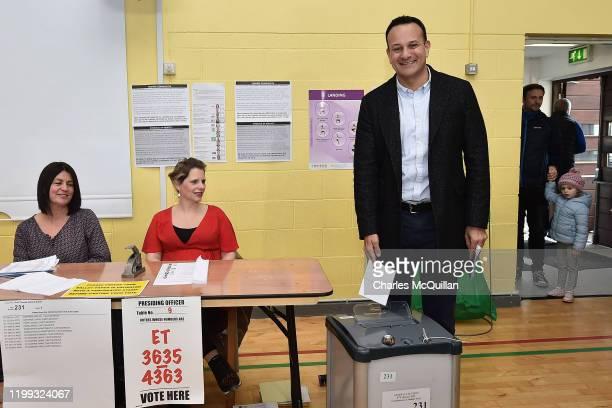 Taoiseach Leo Varadkar casts his vote in the Irish Election on February 8 2020 in Dublin Ireland Ireland has gone to the polls following Taoiseach...