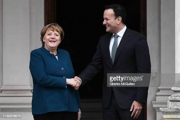 Taoiseach Leo Varadkar meets with German Chancellor Angela Merkel at Farmleigh House on April 4 2019 in Dublin Ireland The German Chancellor is on a...