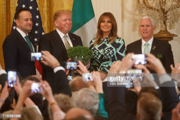 Taoiseach Leo Varadkar of Ireland President Donald Trump First Lady Melania Trump and Vice President Mike Pence pose for a photo during the Shamrock...