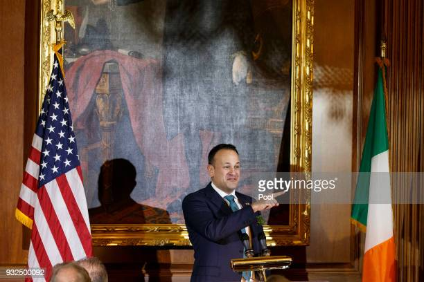 Taoiseach Leo Varadkar of Ireland speaks at the Friends of Ireland luncheon hosted by United States Speaker of the House of Representatives Paul Ryan...