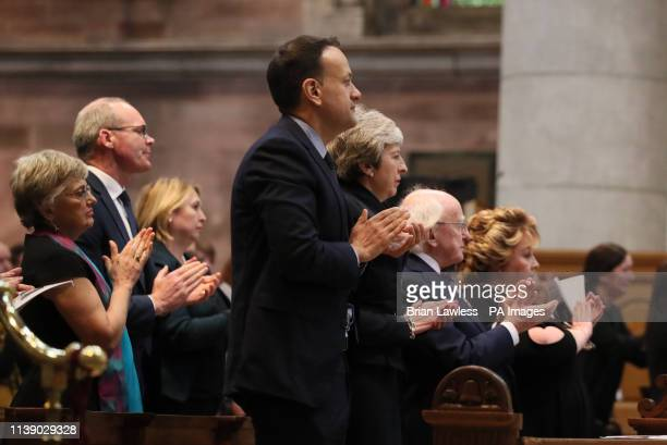 Taoiseach Leo Varadkar Prime Minister Theresa May President Michael D Higgins and Lord Lieutenant of Belfast Fionnuala JayO'Boyle during the funeral...